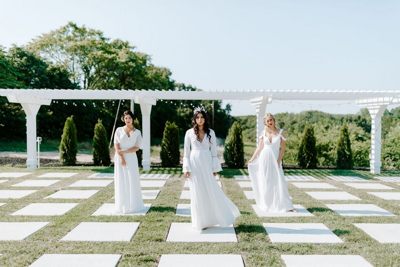 Three brides in grounds of Greenhouse Two Rivers