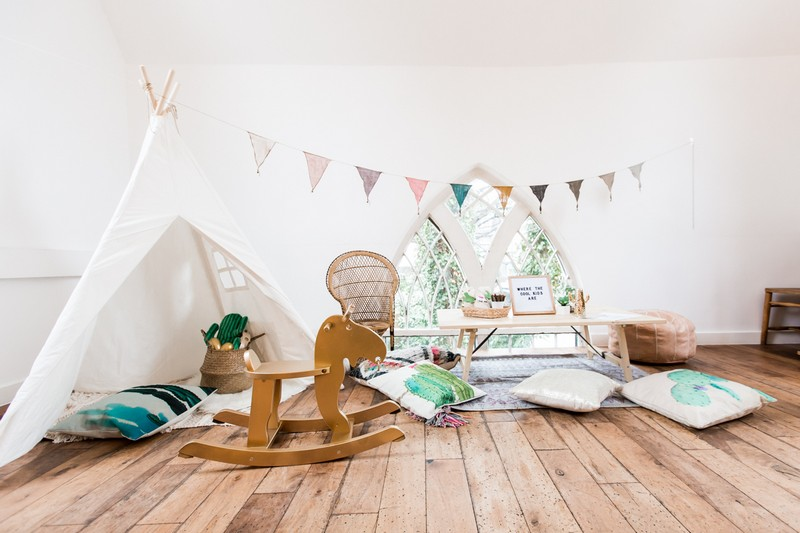 Children's wedding play area with tipi