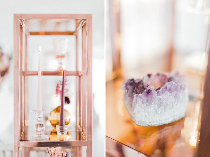 Rose gold shelving with amethyst