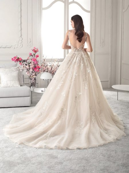 Back of 825 Wedding Dress with Train from the Demetrios Starlight 2019 Bridal Collection