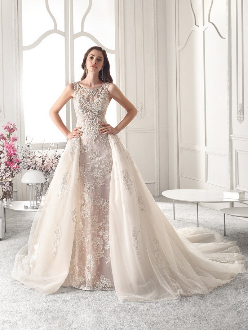 825 Wedding Dress with Train from the Demetrios Starlight 2019 Bridal Collection