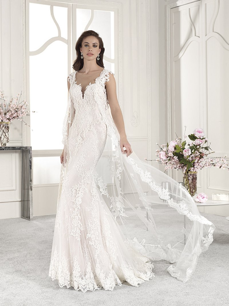 831 Wedding Dress with Cape from the Demetrios Starlight 2019 Bridal Collection