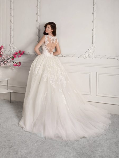 Back of 833 Wedding Dress with Train from the Demetrios Starlight 2019 Bridal Collection