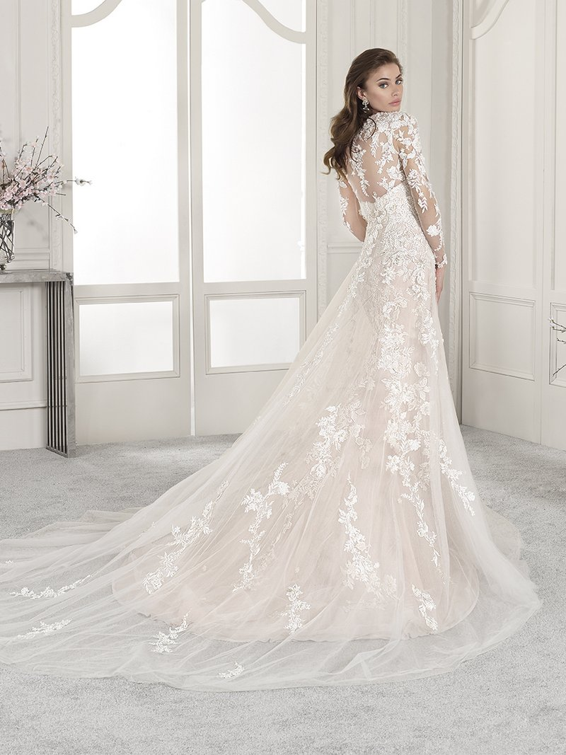 Back of 839 Wedding Dress with Cape from the Demetrios Starlight 2019 Bridal Collection
