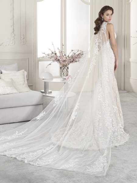 Back of 852 Wedding Dress with Cape from the Demetrios Starlight 2019 Bridal Collection