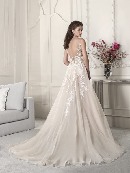 Back of 854 Wedding Dress from the Demetrios Starlight 2019 Bridal Collection