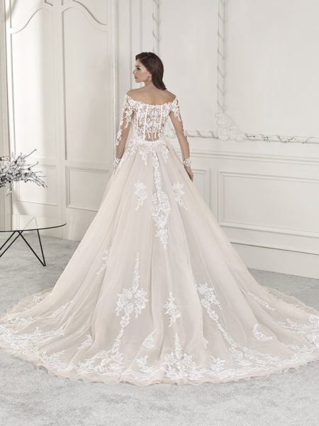 Back of 856 Wedding Dress with Train from the Demetrios Starlight 2019 Bridal Collection