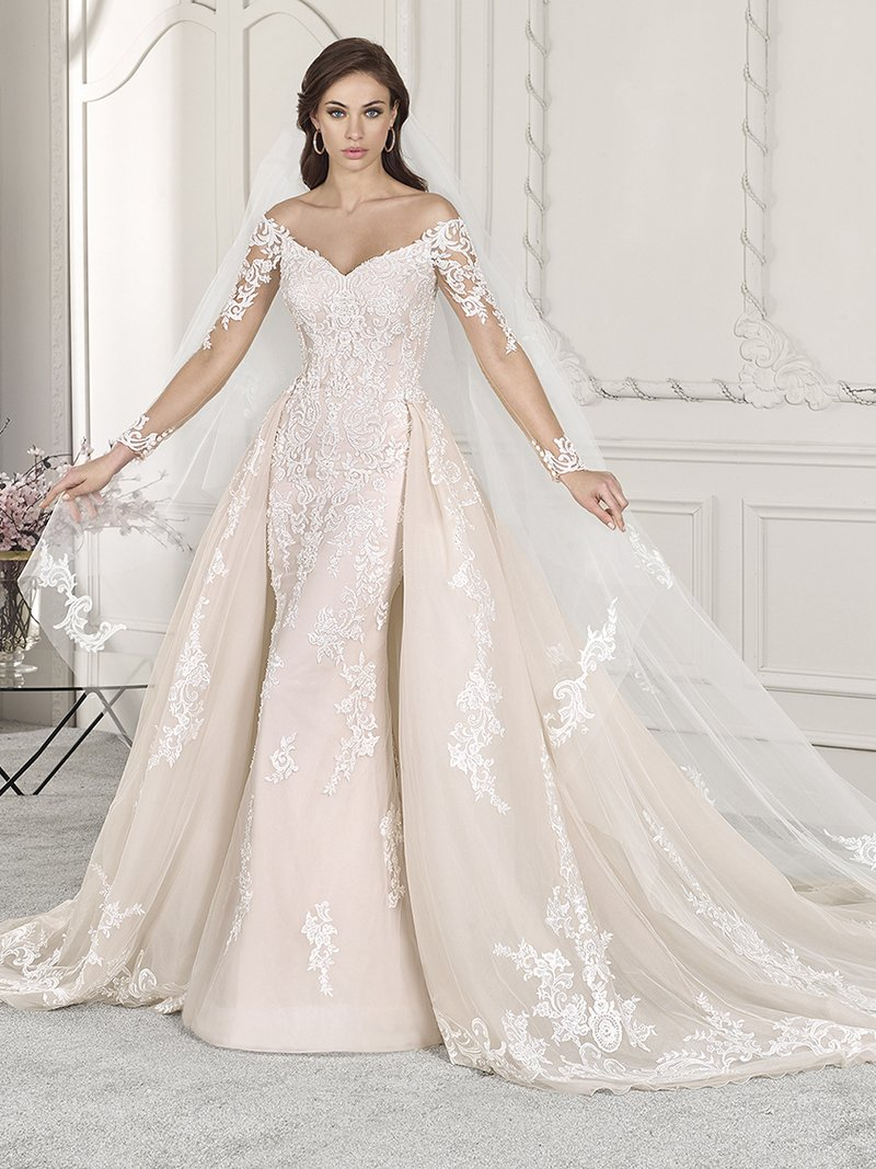 856 Wedding Dress with Train from the Demetrios Starlight 2019 Bridal Collection