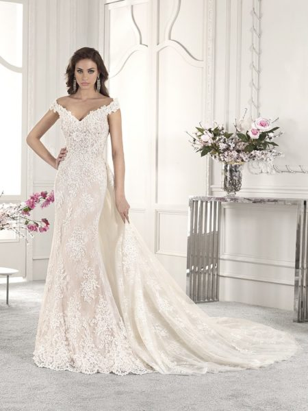 858 Wedding Dress with Train from the Demetrios Starlight 2019 Bridal Collection
