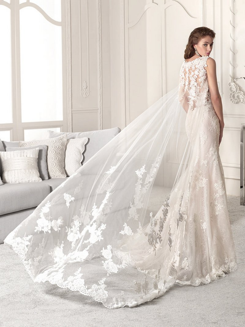 Back of 860 Wedding Dress with Cape from the Demetrios Starlight 2019 Bridal Collection