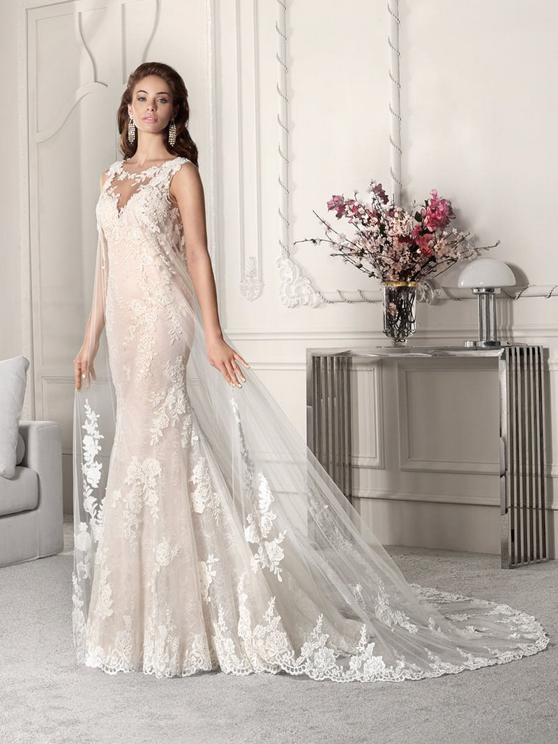 860 Wedding Dress with Cape from the Demetrios Starlight 2019 Bridal Collection