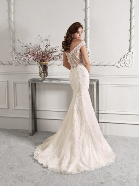 Back of 868 Wedding Dress from the Demetrios Starlight 2019 Bridal Collection