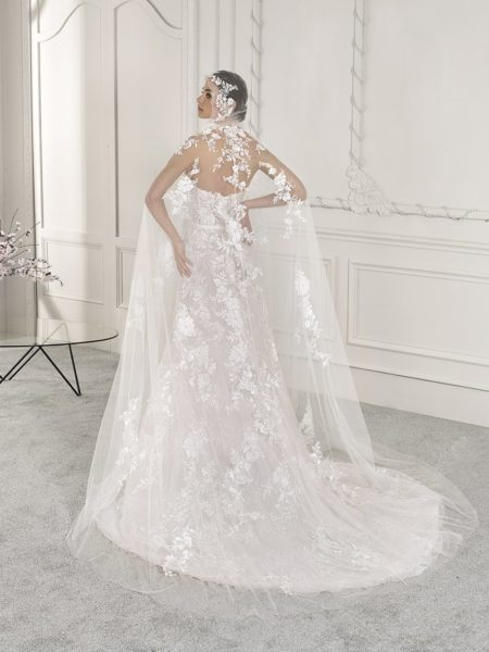 Back of 869 Wedding Dress with Cape from the Demetrios Starlight 2019 Bridal Collection