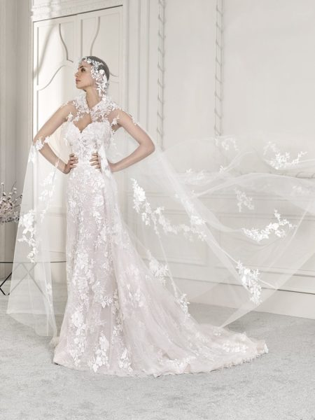 869 Wedding Dress with Cape from the Demetrios Starlight 2019 Bridal Collection