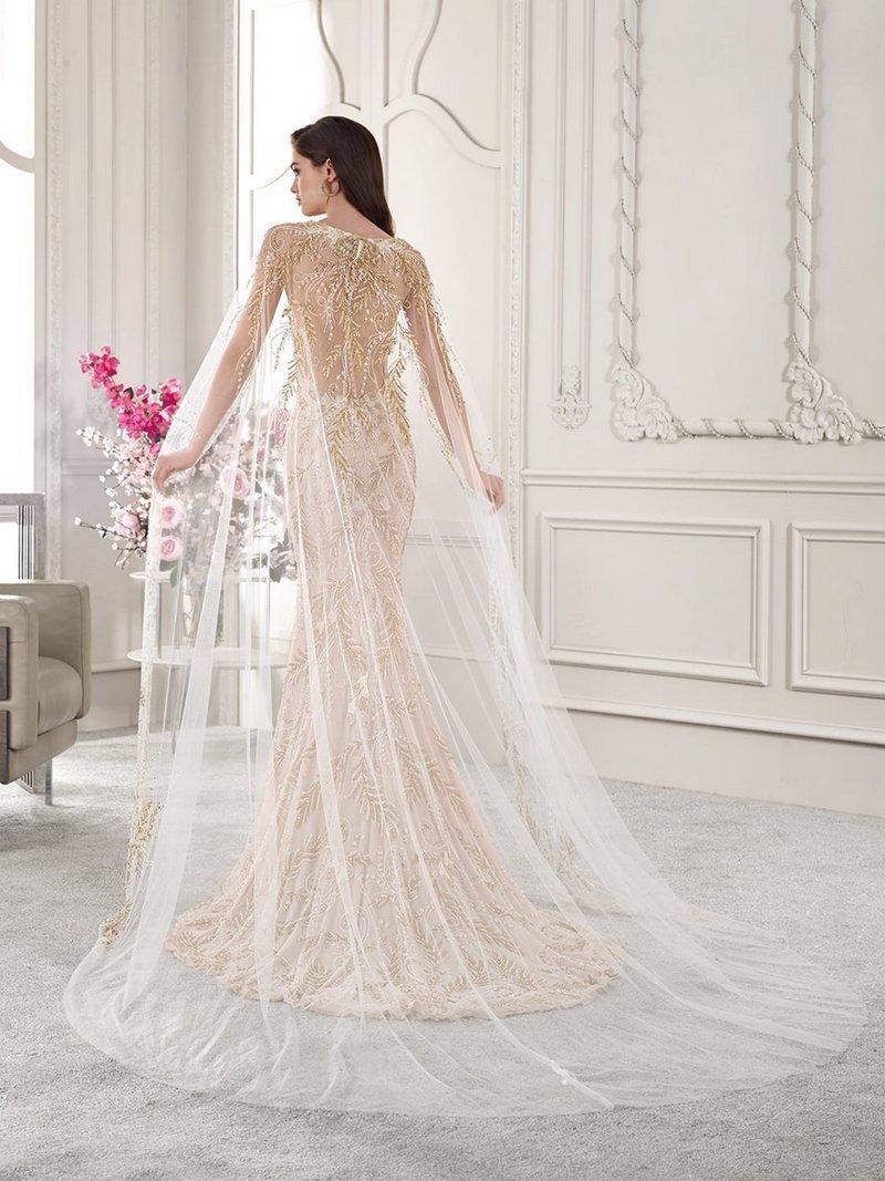 Back of 886 Wedding Dress with Cape from the Demetrios Starlight 2019 Bridal Collection
