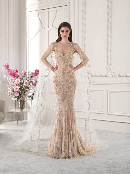 886 Wedding Dress with Cape from the Demetrios Starlight 2019 Bridal Collection
