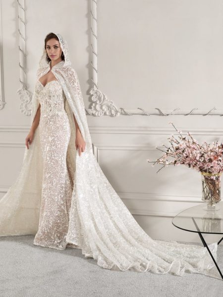 887 Wedding Dress with Hooded Cape from the Demetrios Starlight 2019 Bridal Collection