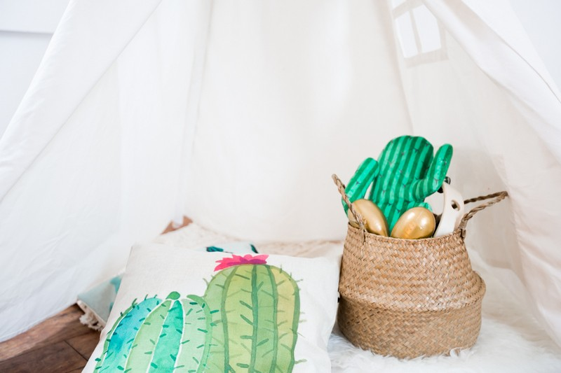 Cactus themed props in tipi