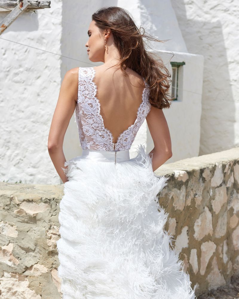 Back of Ali Bodysuit from the Elbeth Gillis Arniston Blue 2019 Bridal Collection