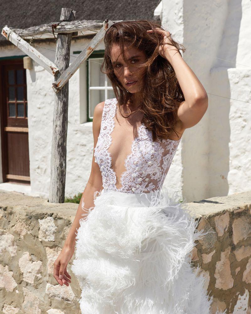 Ali Bodysuit from the Elbeth Gillis Arniston Blue 2019 Bridal Collection