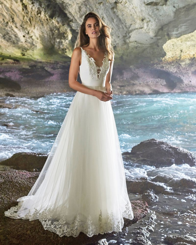 Amelia Wedding Dress with Nina Skirt from the Elbeth Gillis Luminescence 2019 Bridal Collection