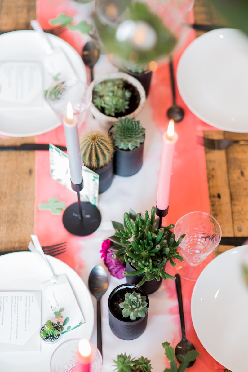 Cactus on Living Coral Table Runner