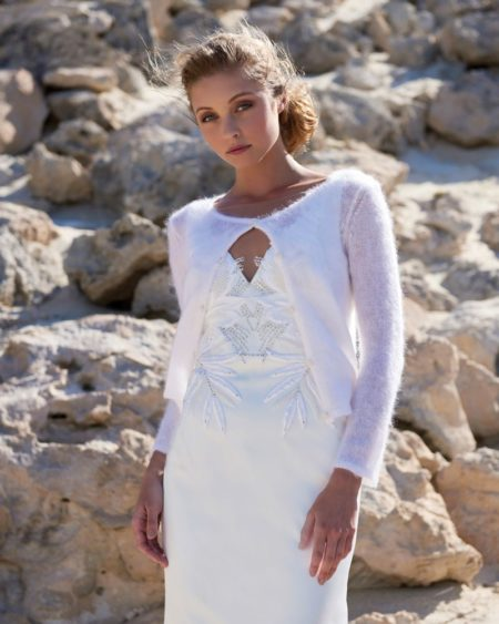 Crew Neck Cardigan in Ivory from the Elbeth Gillis Arniston Blue 2019 Bridal Collection
