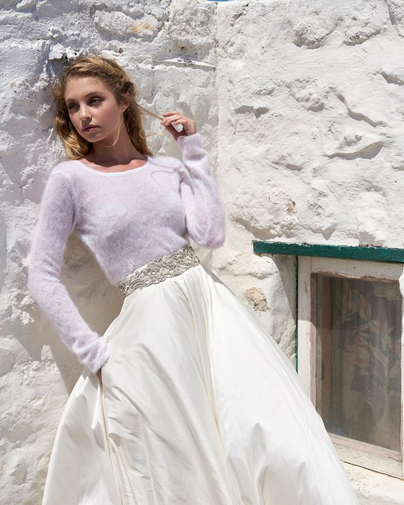 Crew Neck Jersey in Rose Gold from the Elbeth Gillis Arniston Blue 2019 Bridal Collection