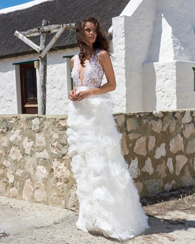 Fabiana Ostrich Feather Bridal Skirt by Elbeth Gillis