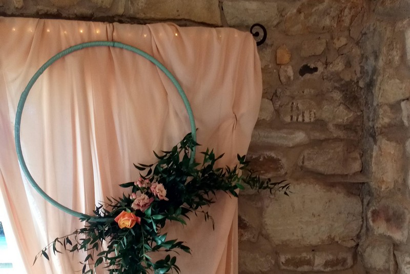 Floral Hoop on Living Coral Backdrop