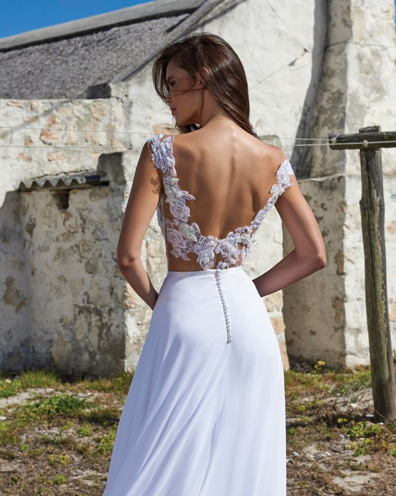 Back of Hannah Bodysuit from the Elbeth Gillis Arniston Blue 2019 Bridal Collection
