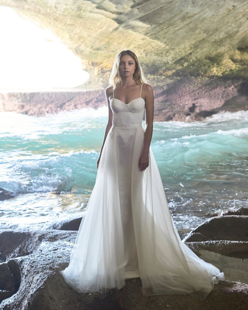 Madison Wedding Dress with Jenevieve Overskirt from the Elbeth Gillis Luminescence 2019 Bridal Collection