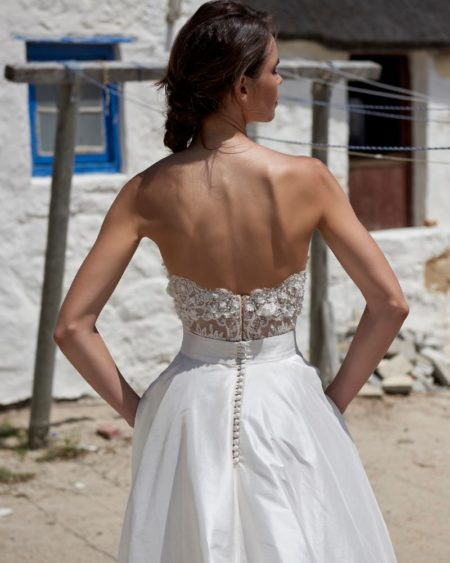 Back of Petal Corset from the Elbeth Gillis Arniston Blue 2019 Bridal Collection