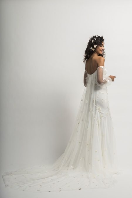 Back of Serafina Wedding Dress with Sleeves and Train from the Alexandra Grecco Cloud Nine 2019 Bridal Collection