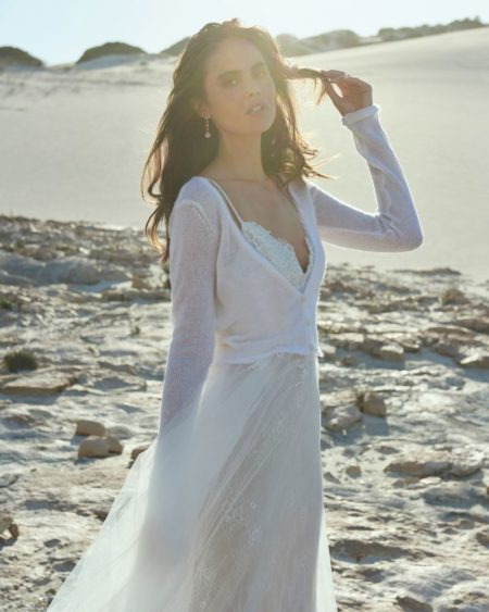 V-Neck Cardigan in Ivory from the Elbeth Gillis Arniston Blue 2019 Bridal Collection