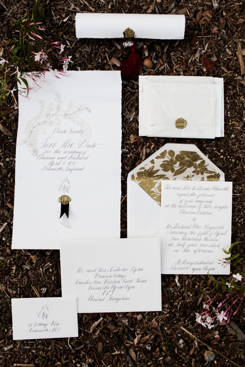 Elegant wedding stationery with hand lettering