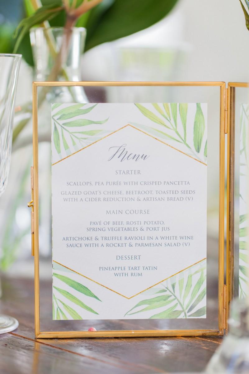 Wedding menu with tropical palm design