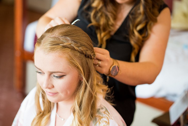 Bridesmaid with braid hairstyle