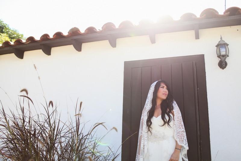 Bride wearing long lace veil