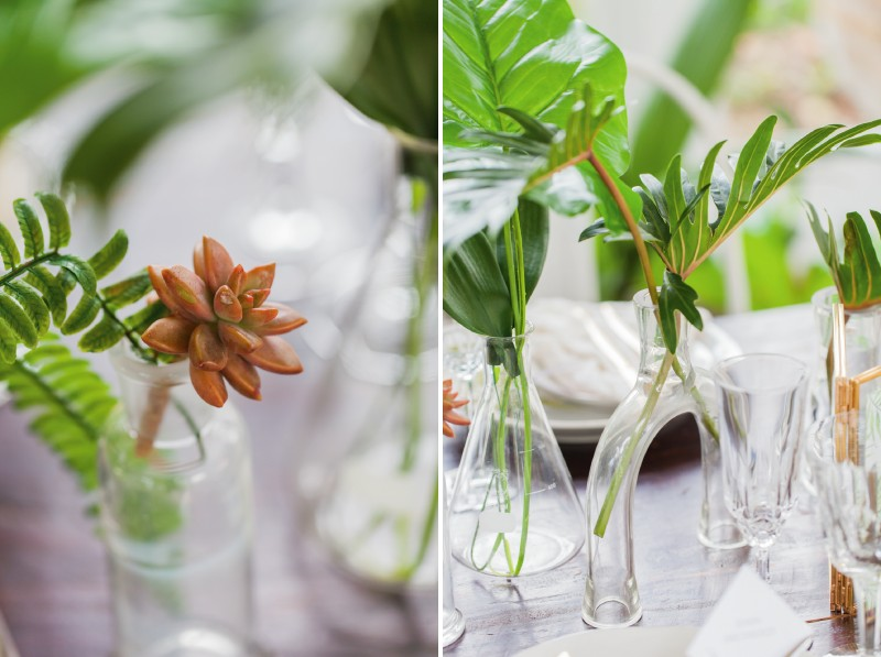 Tropical leaves and plants on wedding table