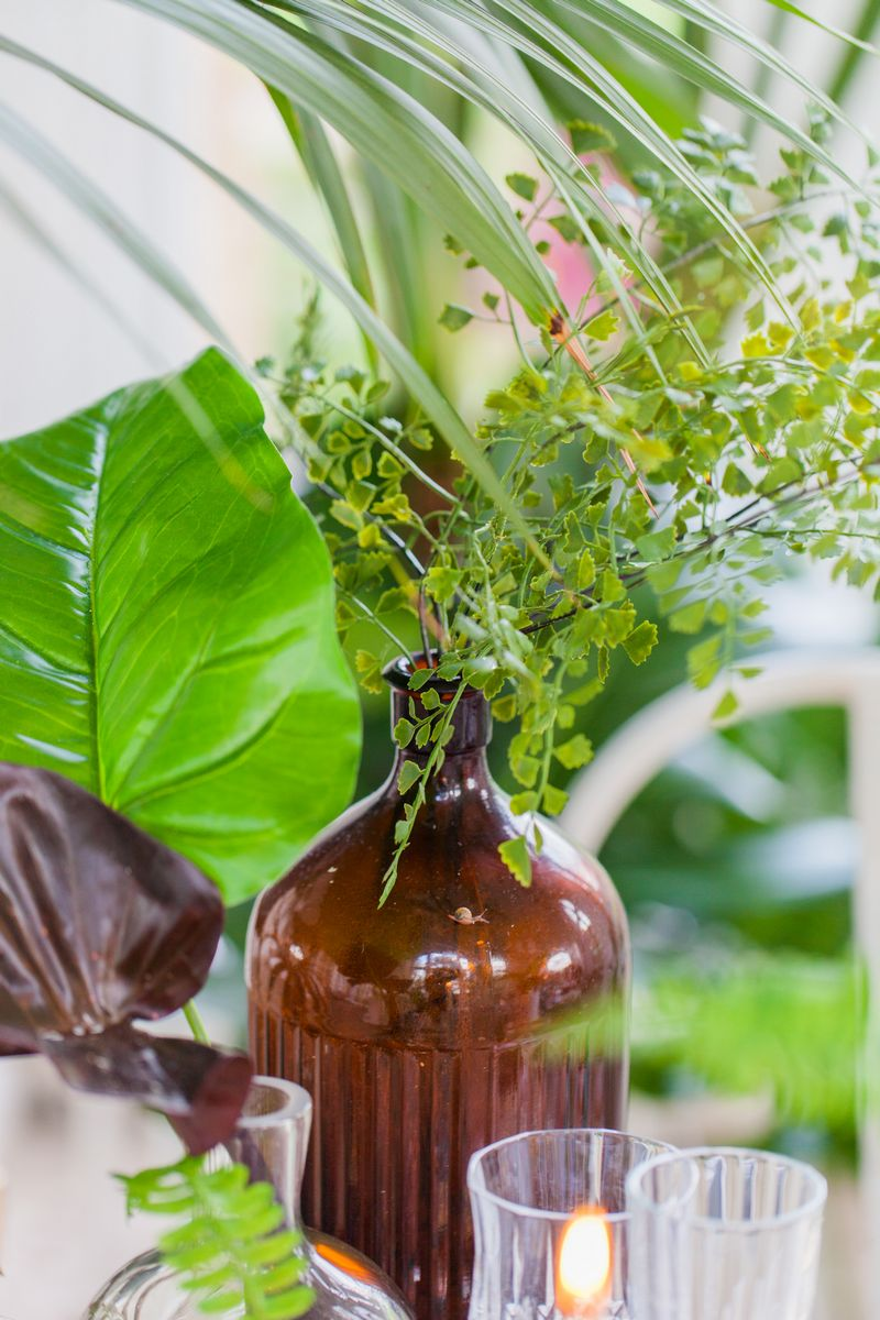 Tropical leaves in brown bottle