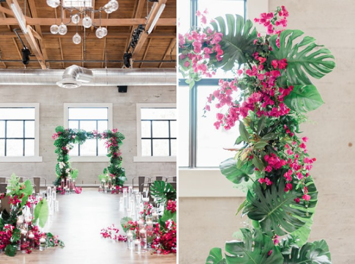 Wedding ceremony arch of tropical foliage and bougainvillea