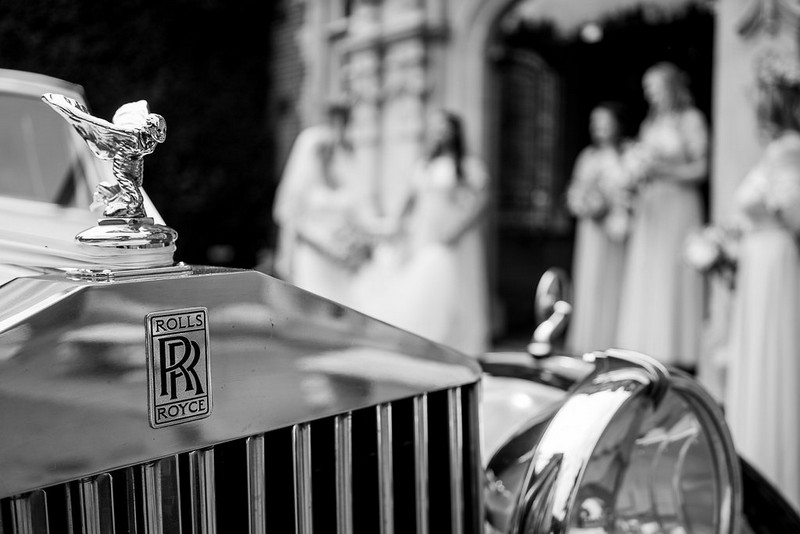 Mascot on front of vintage Rolls Royce wedding car