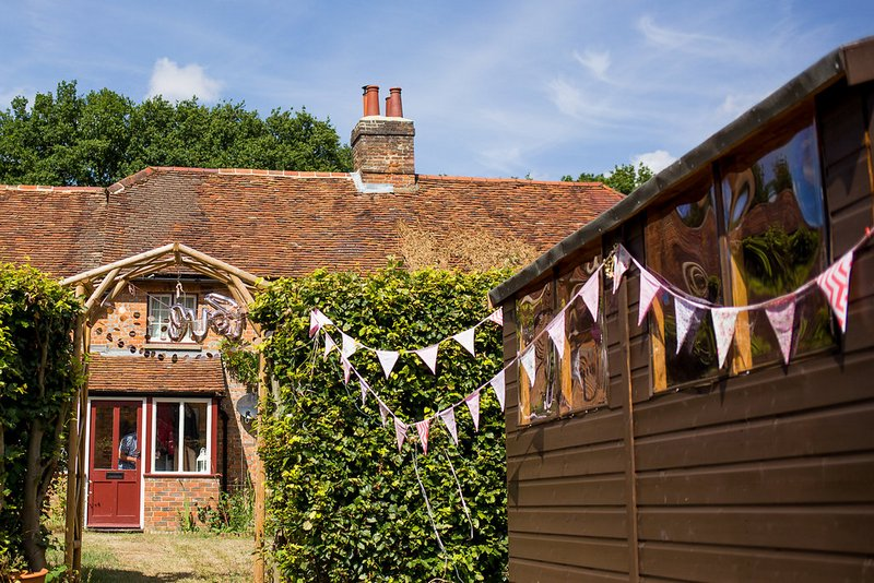 Bunting outside house