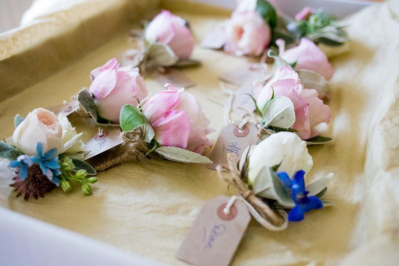 Pink rose buttonholes