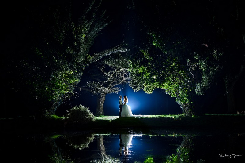 Bride and grom lit up under trees by lake in dark - Picture by Dean Jones Photography