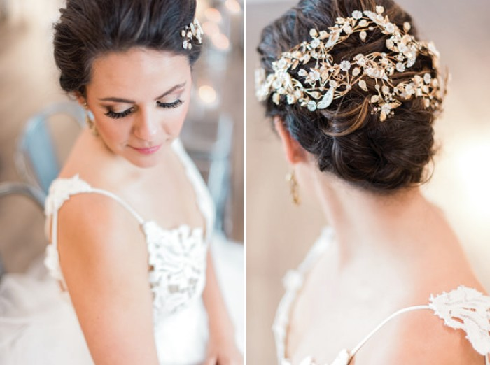Floral accessory in bride's updo hairstyle