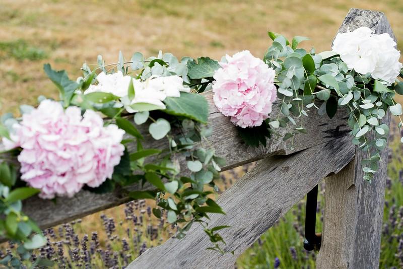 Garden flowers on gate