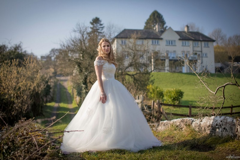 Bride in grounds of Lyth Valley Country Inn