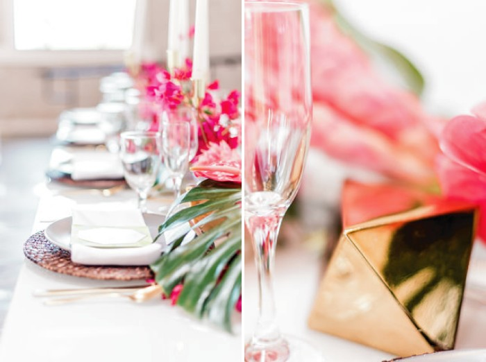 Gold table wedding decoration and glasses